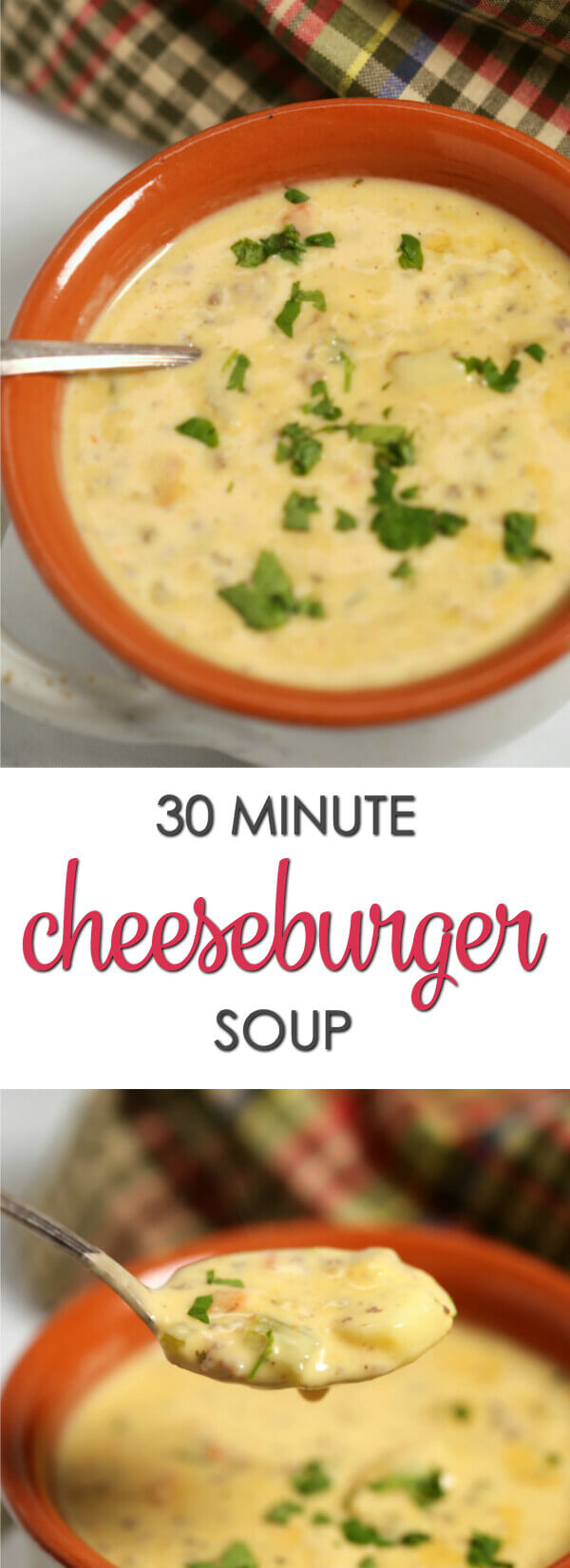This easy Cheeseburger Soup recipe is one of my favorite 30 minute recipes. It's packed with flavor and tastes just like a regular cheeseburger! #itisakeeper #recipe #soup