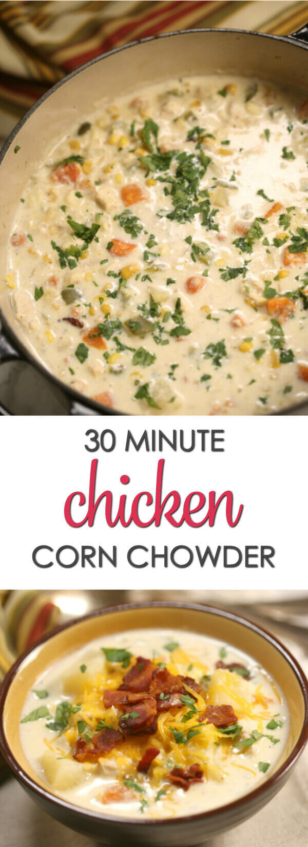 This Easy Chicken Corn Chowder recipe is thick, rich and hearty. Best of all, it's an easy to make in 30 minutes. Perfect for a cold, wintry day. #itisakeeper #recipe #soup