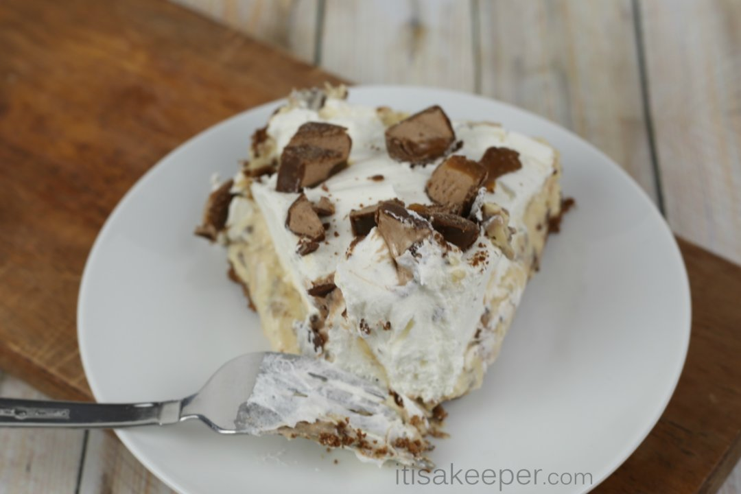 Football Food Ideas pictures a snickers pie on a white plate