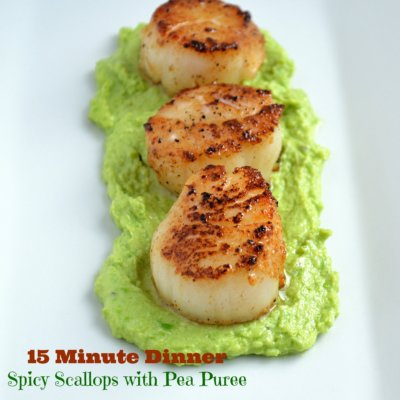 15 Minute Meals:  Spicy Seared Scallops with Pea Puree