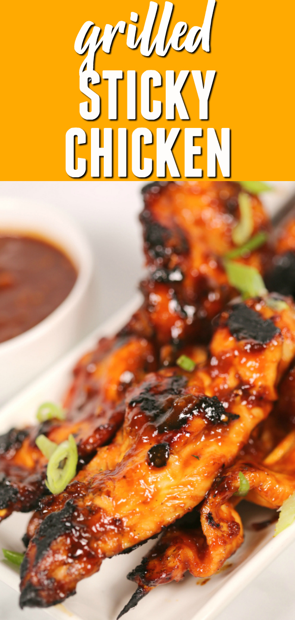 These EASY STICKY CHICKEN skewers are bursting with Asian flavor.  The sauce gets thick and caramelized when grilled concentrating the incredible flavors even more.  This is one of my favorite grilled chicken breast recipes.   #itisakeeper #grilled #recipe #recipes #grilling #bbq #chicken #asian #easyrecipe #dinnerrecipe #easydinner #itisakeeper #recipe #recipes #easyrecipe #quickrecipe #dinner