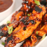 Grilled sticky chicken skewers