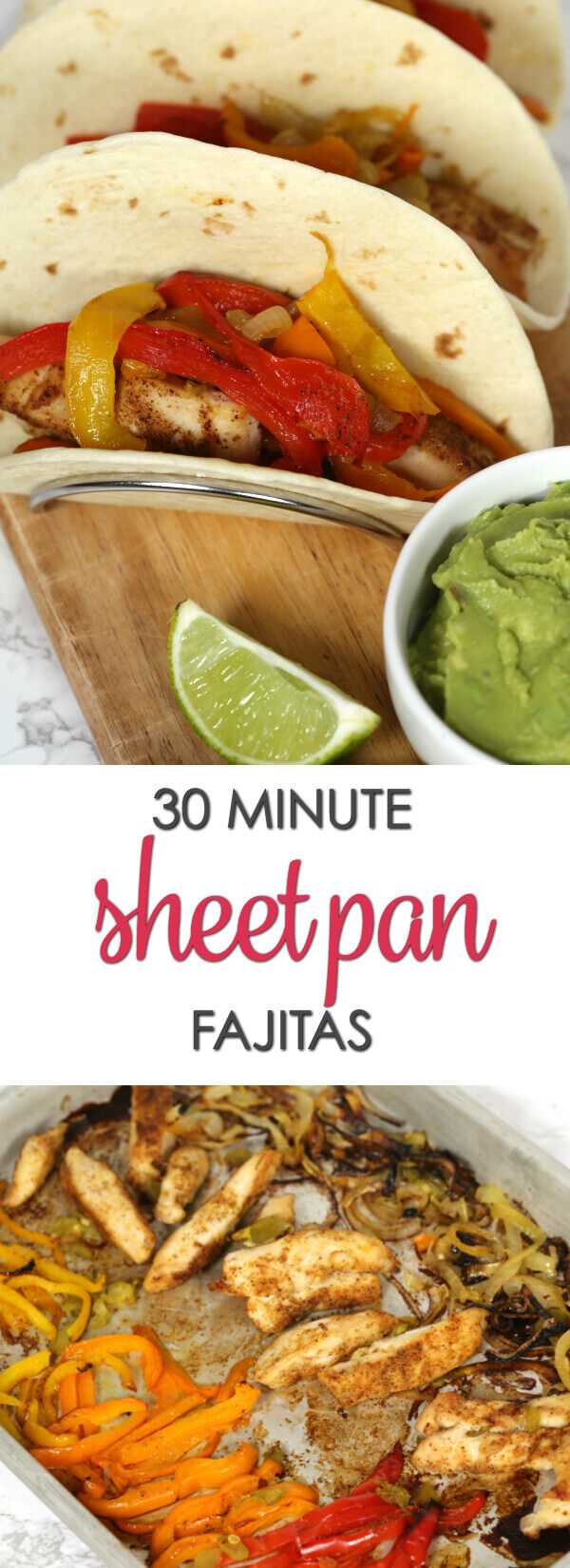 Sheet Pan Fajitas - this easy Tex Mex inspired recipe is ready in less than 30 minutes