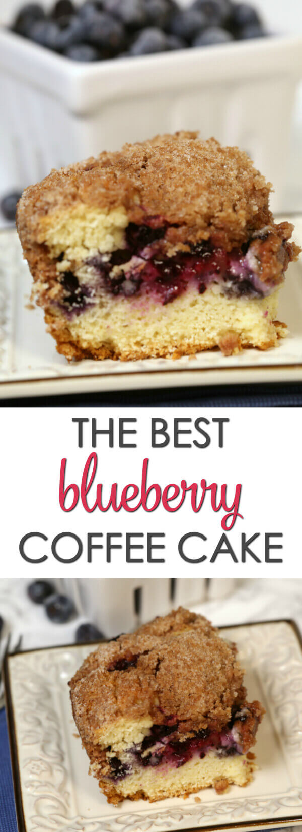 Blueberry Coffee Cake on a white plate with a bowl of blueberries.