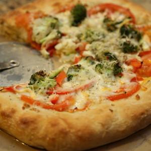 Healthy Pizza Dough Recipe: Three Cheese Veggie Pizza
