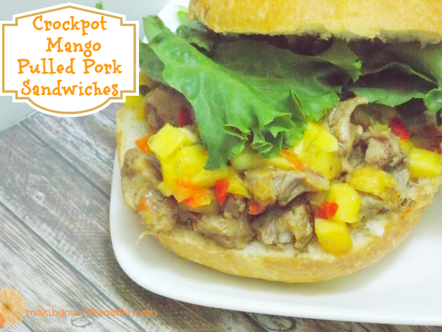 Crockpot Mango Pulled Pork Sandwiches
