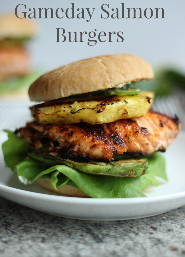 Salmon Burgers with Grilled Pineapple and Avocado