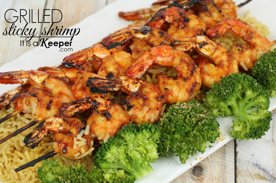 Grilled Sticky Shrimp - It's a Keeper HERO