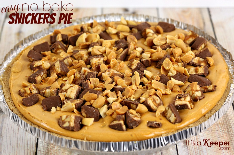 Easy No Bake Snickers Pie - It's a Keeper