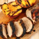 Spicy Pork Tenderloin with Grilled Peaches