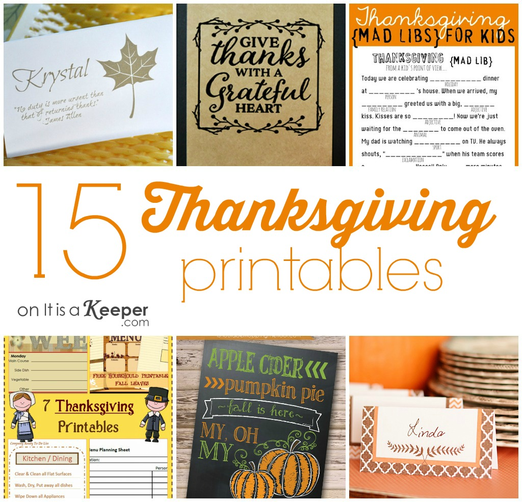 15 Thanksgiving Printables