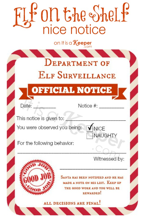 photo regarding Elf on the Shelf Printable Notes called Elf upon a Shelf Naughty Wonderful Notices It Is a Keeper
