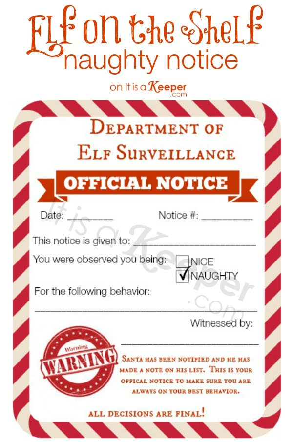 photo regarding Elf on the Shelf Letter Printable identified as Elf upon a Shelf Naughty Good Notices It Is a Keeper