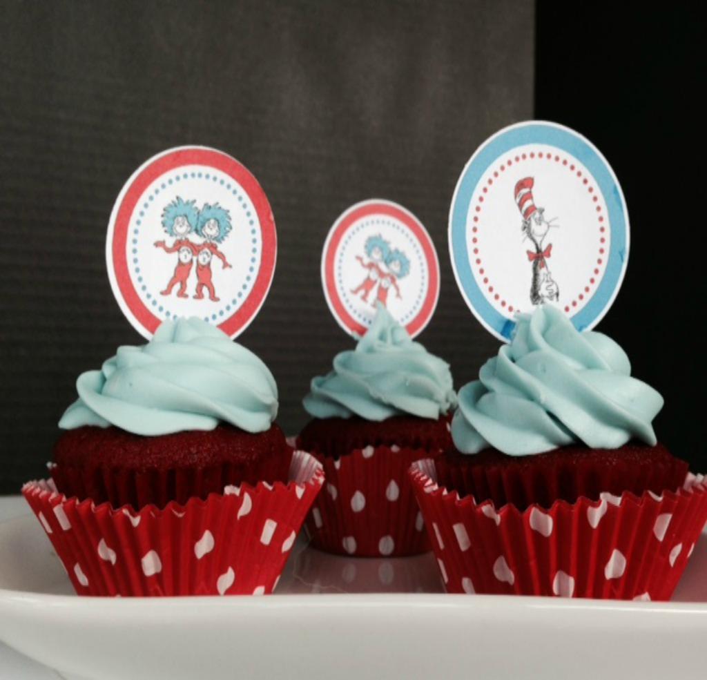 Dr Seuss Red Velvet Cupcakes