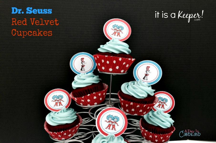 Dr. Seuss Red Velvet Cupcakes -Itsakeeper