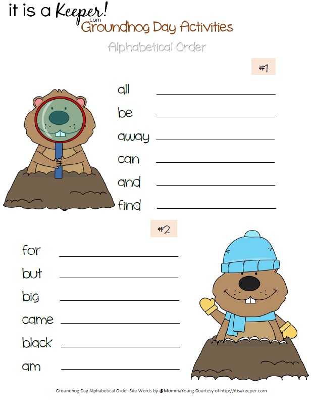Groundhog Day Printable Activities Alphabetical Order