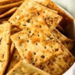 Ranch crackers recipe in a white bowl
