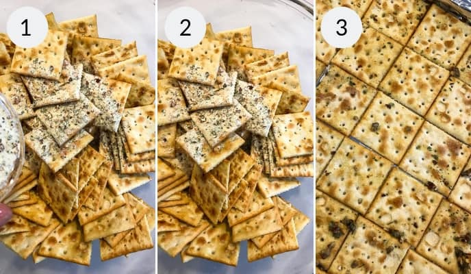 Step by step instructions for making this ranch crackers recipe