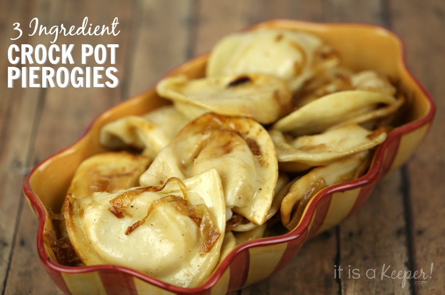 These 3 ingredient Crock Pot Pierogies are incredibly easy to make and taste so good! It's one of my favorite easy crock pot recipes.