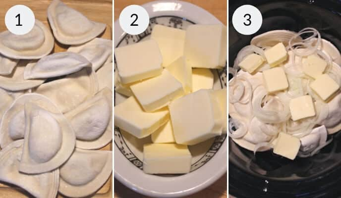 Step by step instructions for making crock pot pierogie