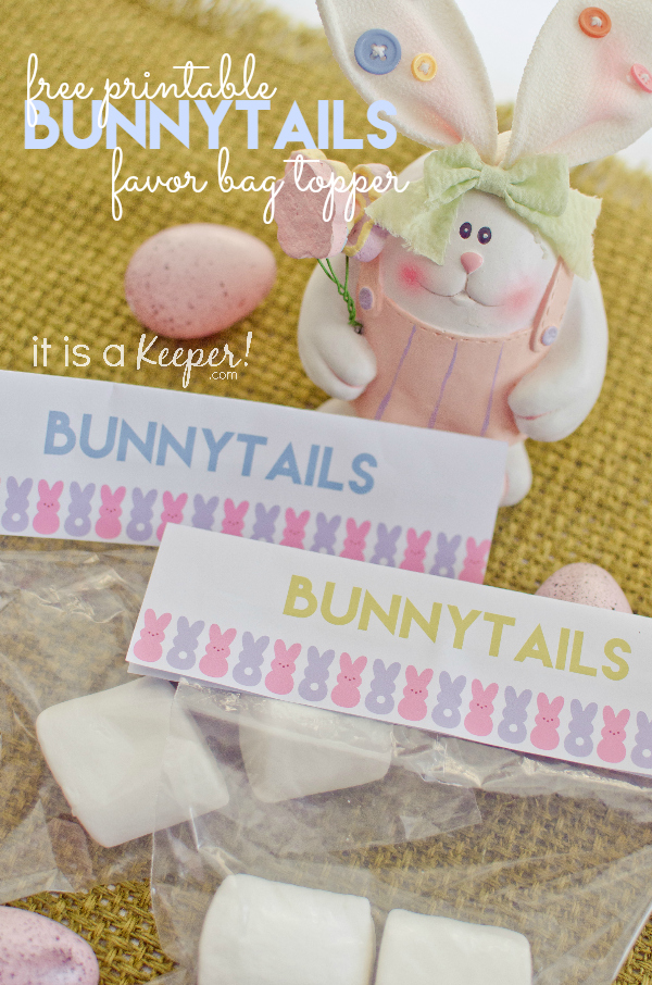 Free Printable Bunnytails Favor Bag Topper HERO – It Is a Keeper