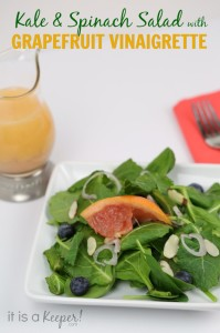 Kale Spinach Salad Grapefruit Vinaigrette - It Is a Keeper