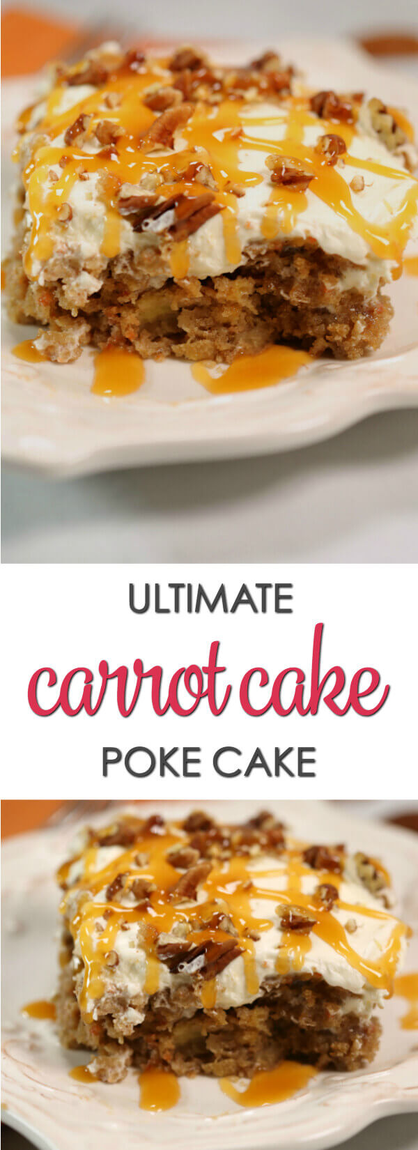 This Ultimate Carrot Cake Poke Cake is one of my favorite easy poke cake recipes. It's decadent, delicious and very easy to make. #itisakeeper #recipes #pokecake #dessert #carrotcake
