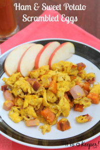 Ham and Sweet Potato Scrambled Eggs HERO - It is A Keeper