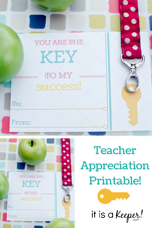 You are the Key to My Success Teacher Appreciation Printable