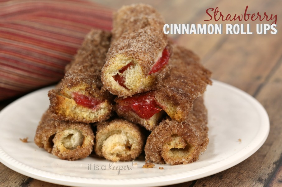 Strawberry Cinnamon Roll Ups - It Is a Keeper