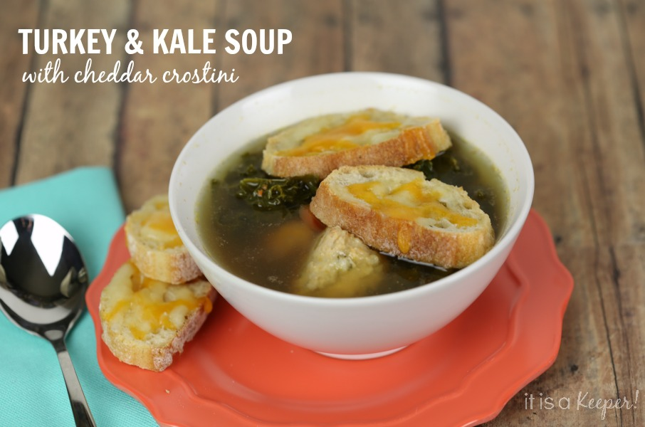 This Turkey and Kale Soup with Cheddar Crostini recipe is a light, healthy soup topped with flavorful crostini.  It's like having a gourmet grilled cheese on top of your soup!