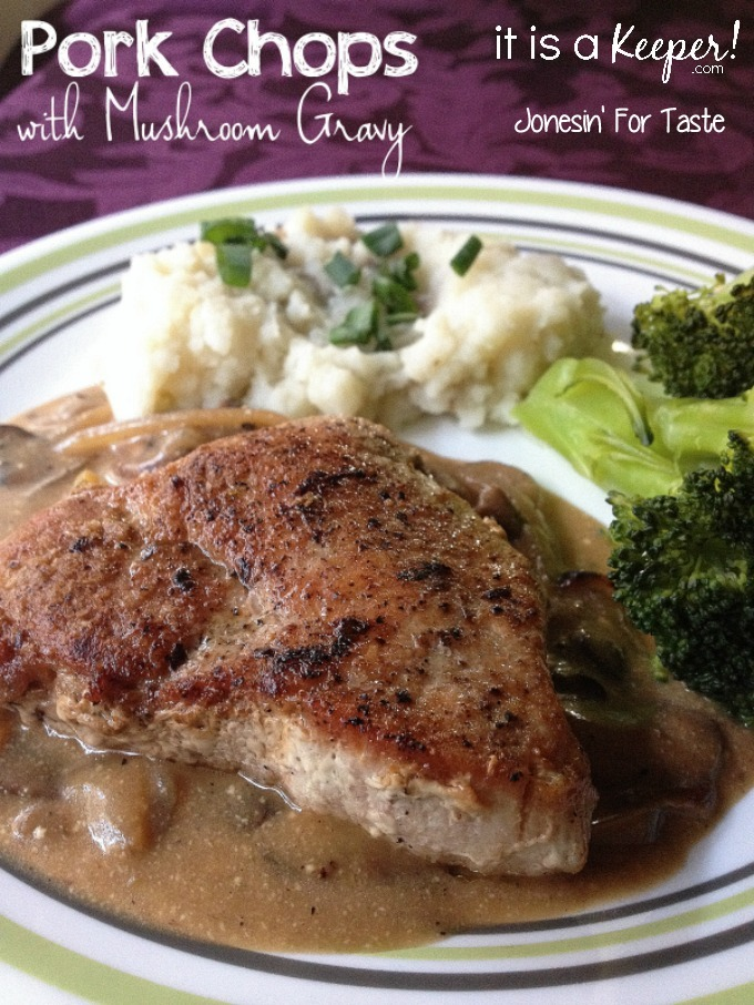Pan seared pork chops quickly finish in the oven and are paired with an easy mushroom gravy.