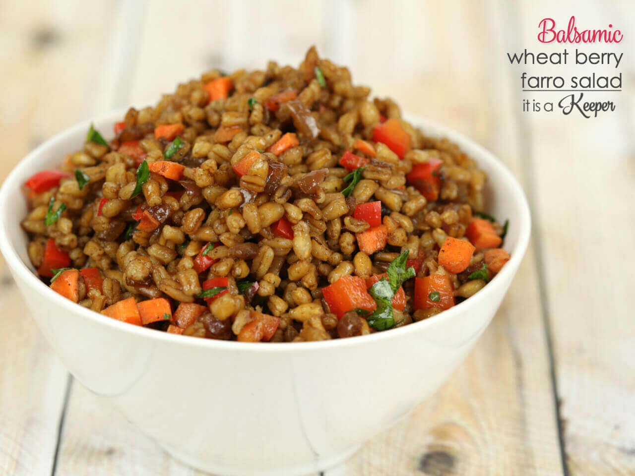Balsamic Wheatberry Farro Salad - this healthy grain salad recipe is easy to make when you use my trick