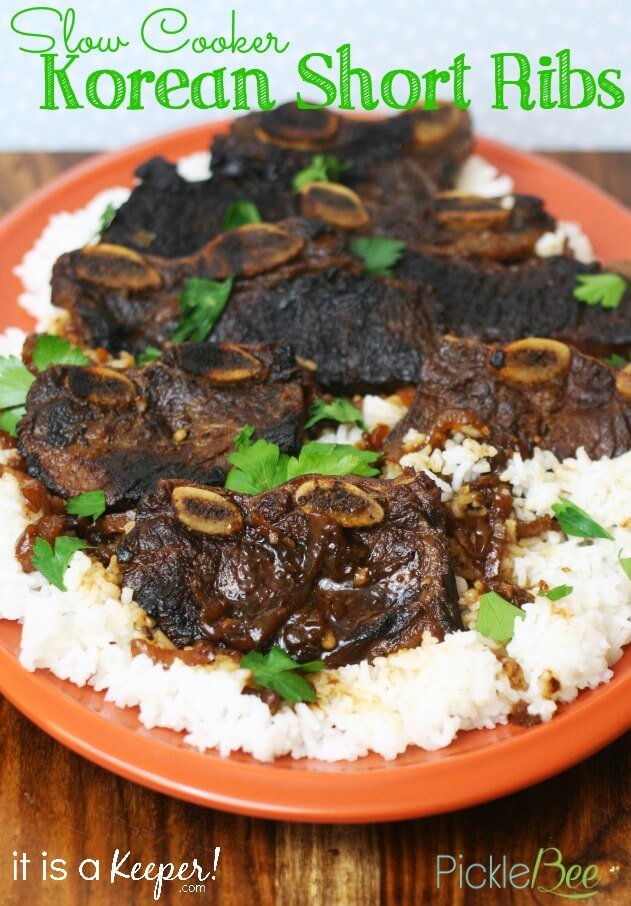 Slow Cooker Korean Short Ribs with white rice on a orange plate.