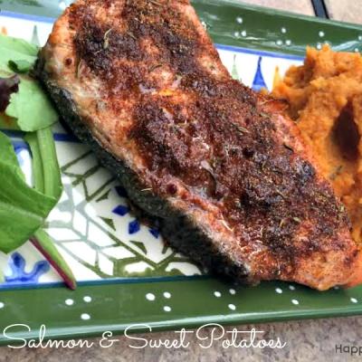 Jerk Salmon and Sweet Potatoes