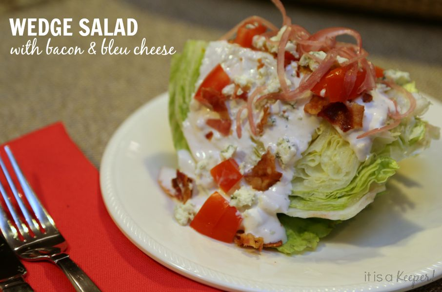 Easy Bacon & Blue Cheese Wedge Salad with Garlic Blue Cheese Dressing recipe