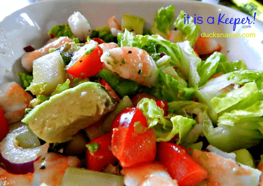 shrimp avocado salad closeup