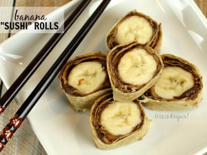 These Banana Sushi Rolls are a playful and fun snack that kids will love