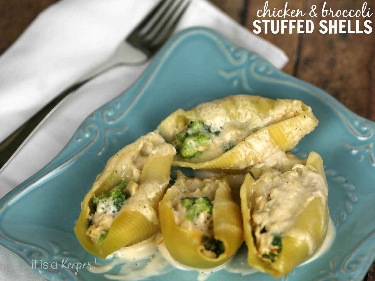 Easy Chicken and Broccoli Alfredo Stuffed Shells – a quick recipe that you can make ahead