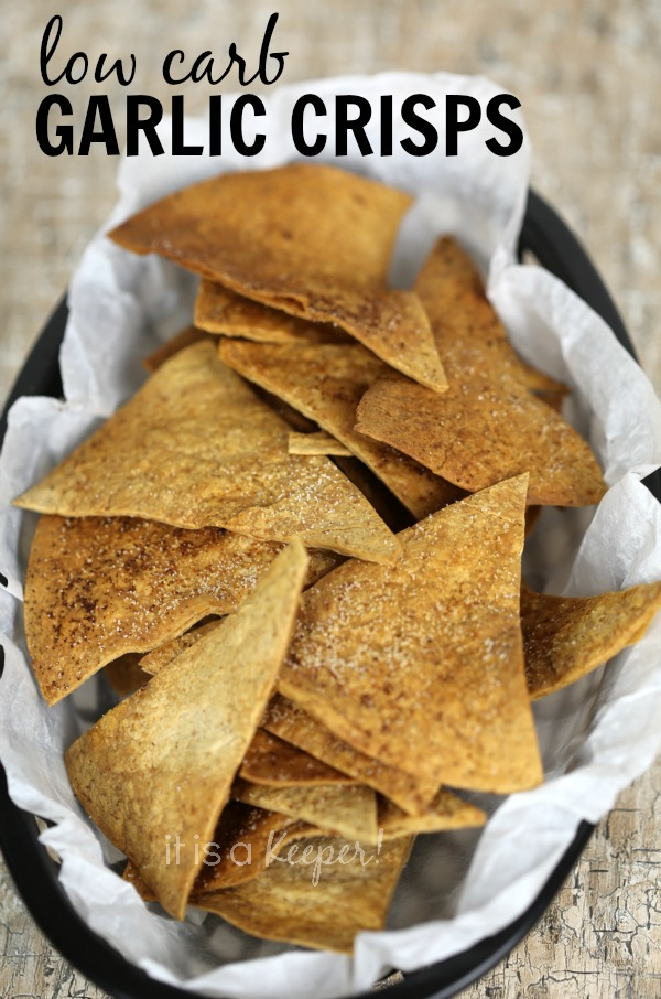 These easy low carb garlic crisps are ready in under 15 minutes