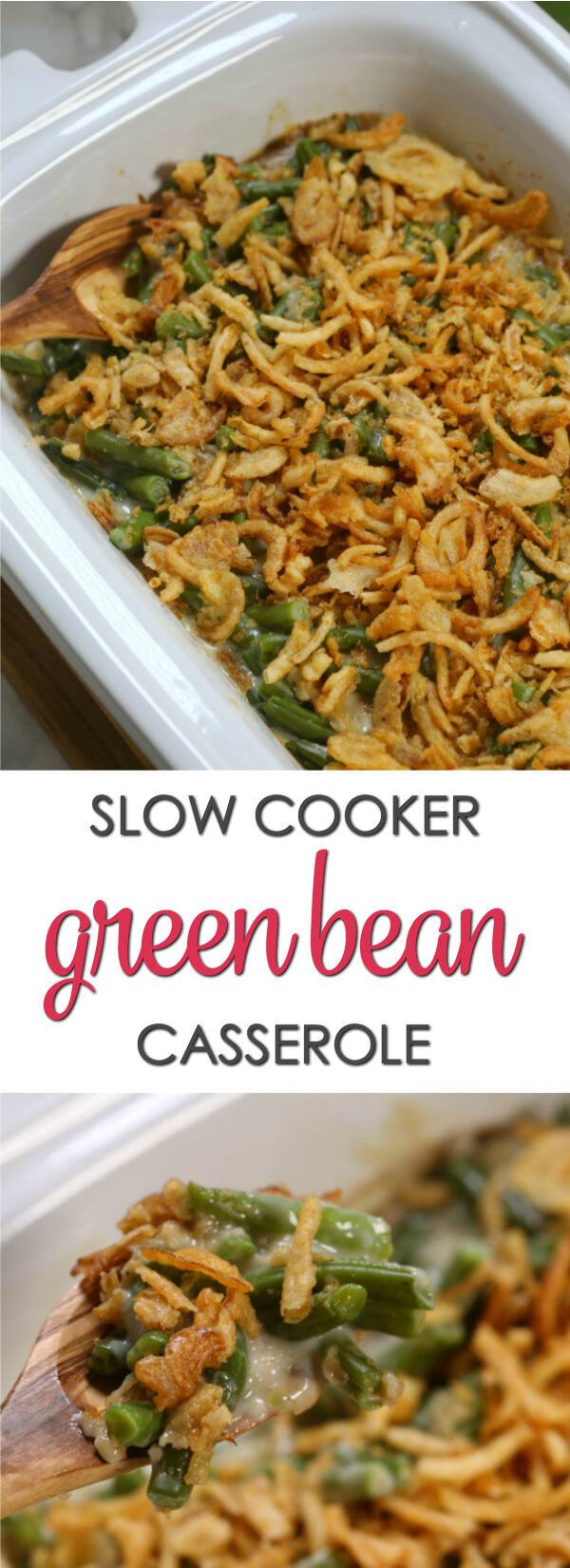 This Crockpot Green Bean Casserole is a time saving twist on a classic Thanksgiving recipe. It's easy to put together and doesn't take up precious oven space on the big day.  It's definitely one of the best slow cooker recipes of all time.