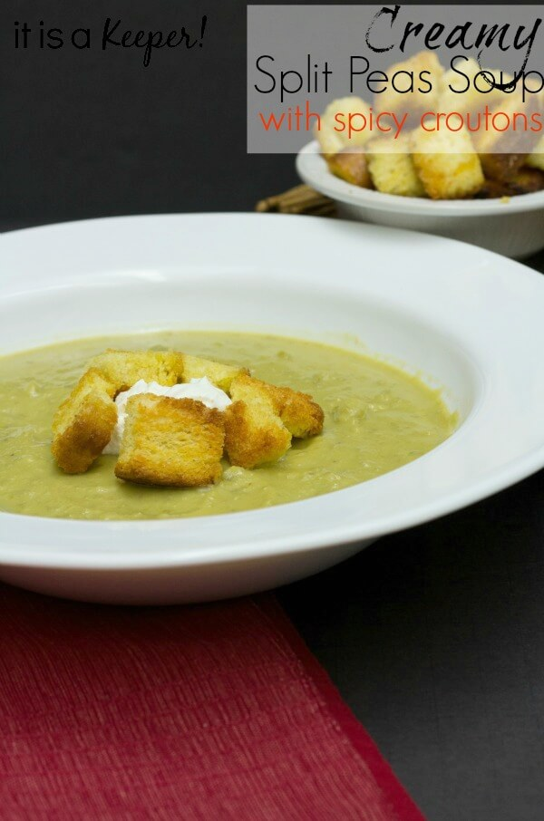 This creamy Slow Cooker Split Pea Soup with Spicy Croutons is one of my favorite easy crock pot recipes and pure comfort food! It's easily one of the best slow cooker recipes of all time.