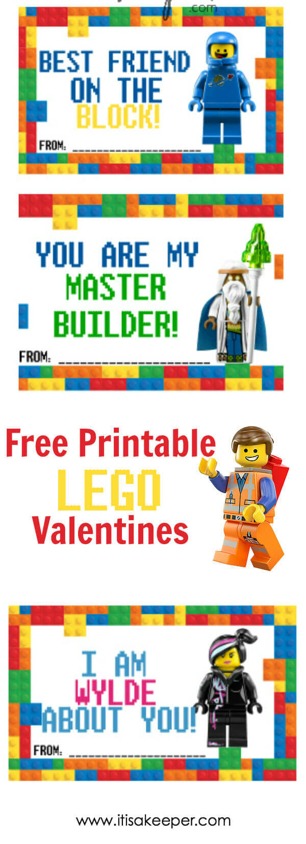 If your kid is obsessed with LEGOs, print outthis free set of 6 fun LEGO Valentine cards and your kid will be the star of the classroom.  #Printable #Valentines #LEGOs