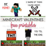 Minecraft Valentine Cards Printable