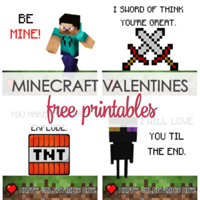 Minecraft Valentines Printable Cards