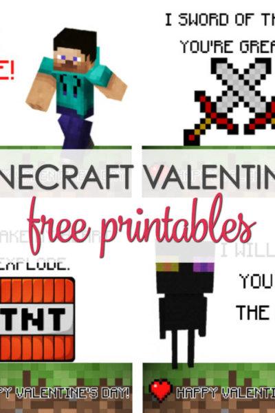 Minecraft Valentines Printable Cards