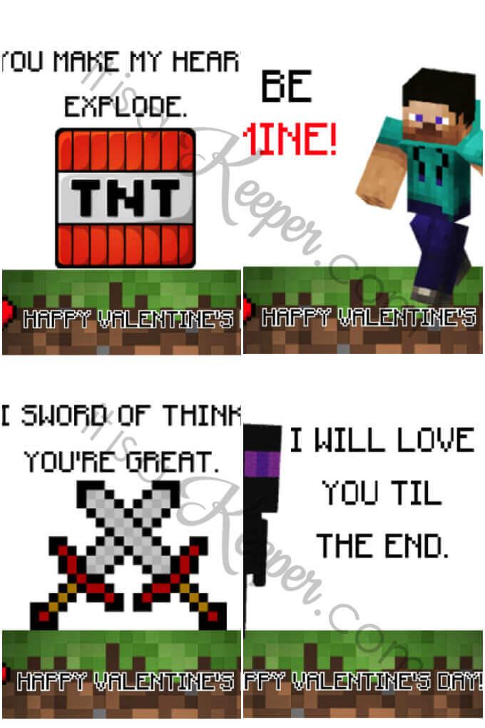 set of 4 Minecraft Valentines printables