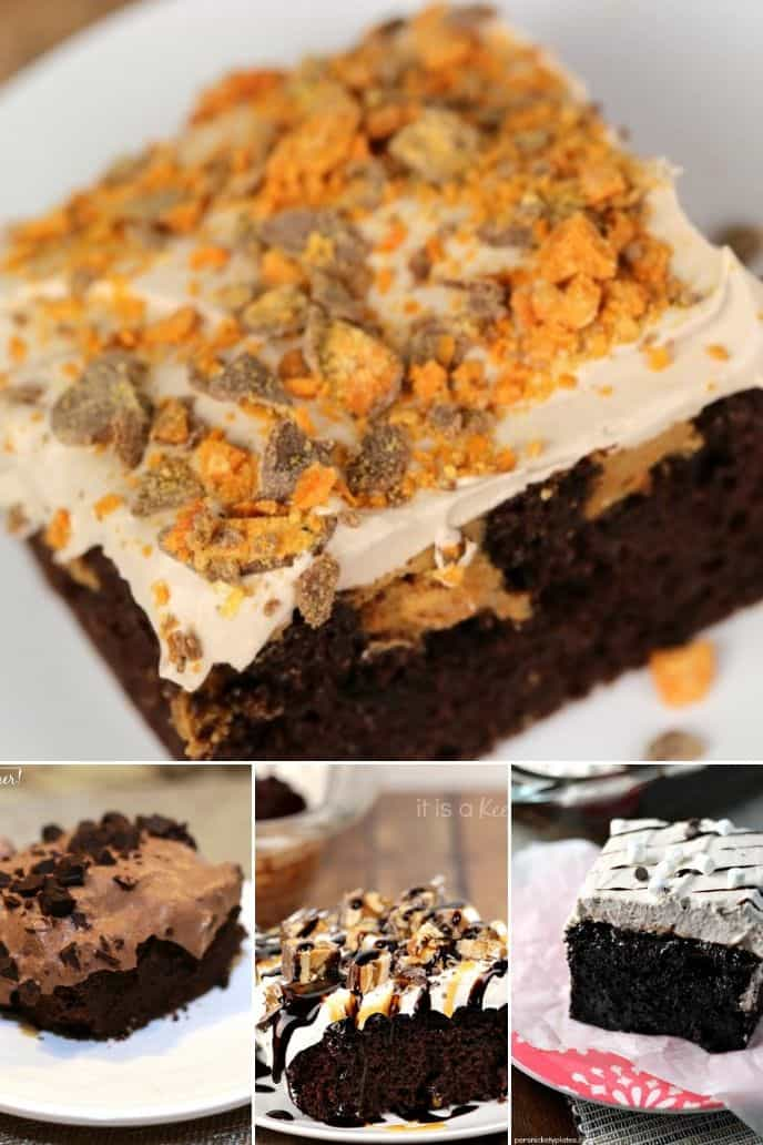 collection of Chocolate Poke Cake Recipes