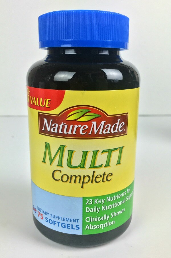 bottle of nature made multi complete supplement