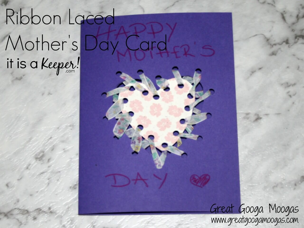 This Ribbon Laced Mother's Day Card is an easy, kid friendly project